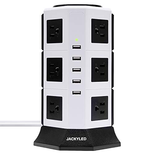 (5 USB 12 Outlet Power Strip Tower JACKYLED 2 Switches Vertical Electric Charging Station Charger USB Hub 6.5ft Extension Cord for Home Office Workspace-White and)