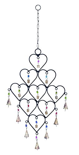 Woodland Garden Gnome - Benzara Metal Heart Wind Chime with Artistic Design