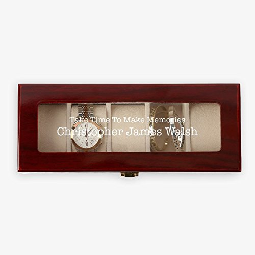 - Personalized Direct Custom Memories 5 Slot Cherry Finish Wooden Organizer Watch Case 11
