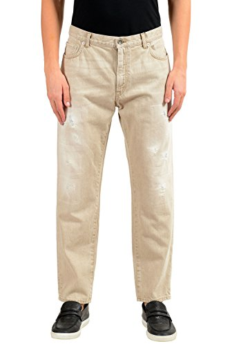 Dolce & Gabbana Men's Beige Distressed Straight Leg Jeans US 32 IT 48 - Dolce & Gabbana Straight Leg Jeans
