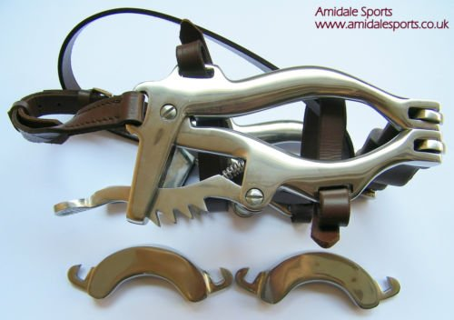 Amidale Horse Mouth Gag Equine Dental Speculum Brown Leather And S. Steel Spare Bits