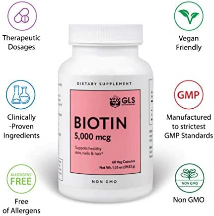 GLS Pharmaceuticals Biotin Vitamins for Hair Growth, Skin & Nails, 5mg - Pure 5,000mcg Beauty Pill Supplements for Thinning, Hair Loss in Men & Women - Natural, Vegan Veggie Vegetable Capsules 60ct