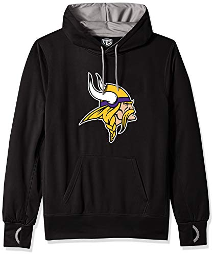 NFL Minnesota Vikings Male OTS hooded Pullover, Jet Black, Medium