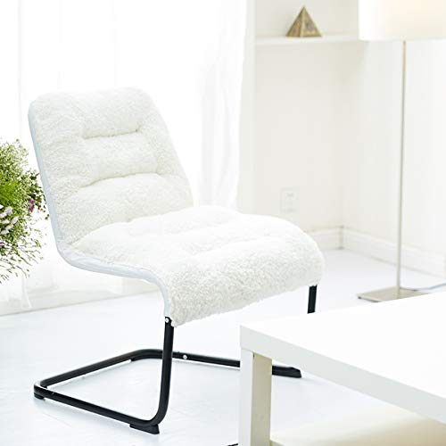 Bedroom Living Room Chair (Zenree Comfortable Butterfly Chair, Padded Folding Dorm Chair, Accent Lounge Reading Chair Sherpa Bedroom, Living Room, Dorm, Teen's Den, White)