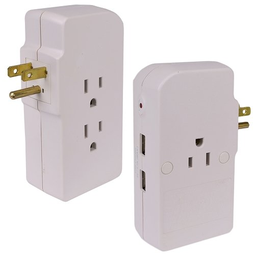 (Tech Universe 3-Outlet Surge Protector Plus 2 USB Charging Ports 1050 Joules )