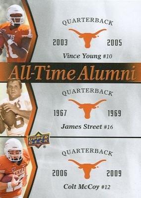 - Vince Young, James Street & Colt McCoy football card (Texas Longhorns) 2011 Upper Deck All Time Alumni #ATAD-YSM