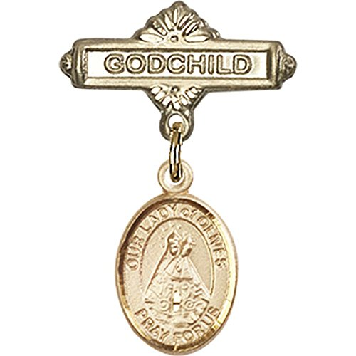 14kt Yellow Gold Baby Badge with Our Lady of Olives Charm and Godchild Badge Pin 1 X 5/8 inches by Unknown