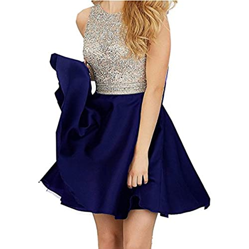 Miya 2016 Short Beading Open Back Satin Homecoming Dress Prom Gowns MY025