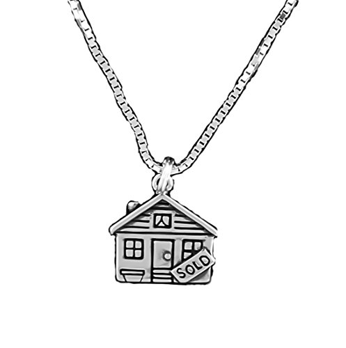 Cm Sterling Silver House Sold Sign Pendant Necklace Real Estate 18 Inch Chain