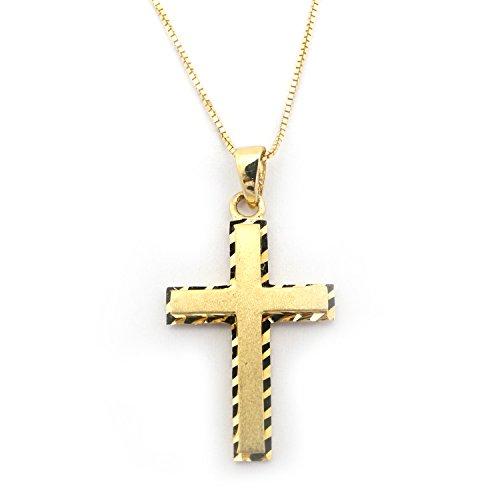 Beauniq 14k Yellow Gold Matte Finish Cross with Diamond Cut Edges Pendant Necklace, 15