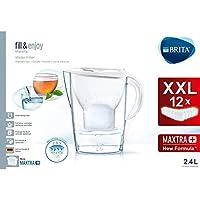 Brita Marella - Jarra filtrante para agua, 12 filtros Maxtra+ incluidos, plástico san, plástico, blanco, 2,4 litros
