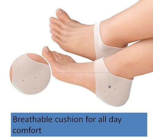 Flexible Breathable Silicone Heel Cushion, Moisturizer for Dry Cracked Heel, Heel Support for Heel Pain, Plantar Fasciitis, Flat Foot and Heel Spur. Diabetic Friendly. Night Time ()