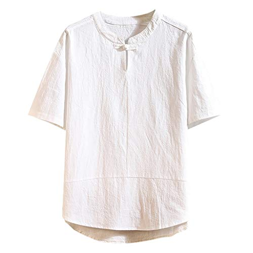 (Men's Summer Casual Pure Color Cotton Linen Short Sleeve T-Shirts Top Blouse White )