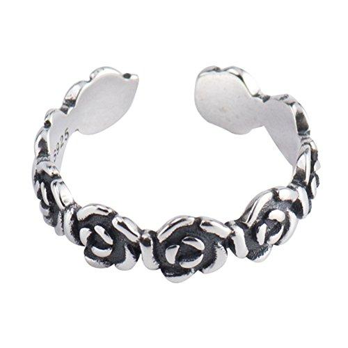 (LILEI 925 Thai Sterling Silver Adjustable Vintage Open Band Flower Toe Rings for Women Girls)