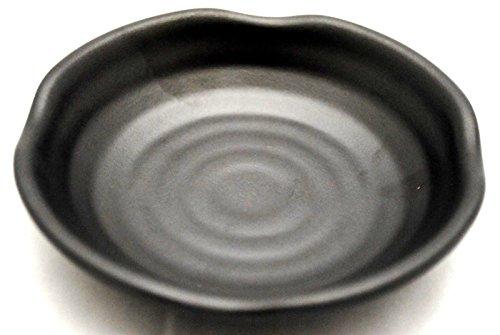 Lucky Star Melamine Round Plates Dinner Appetizer Platter Snack Side Dish, 4 inch, 5 inch, 6 inch, Black, Wavy Rim (120, 4 inch)