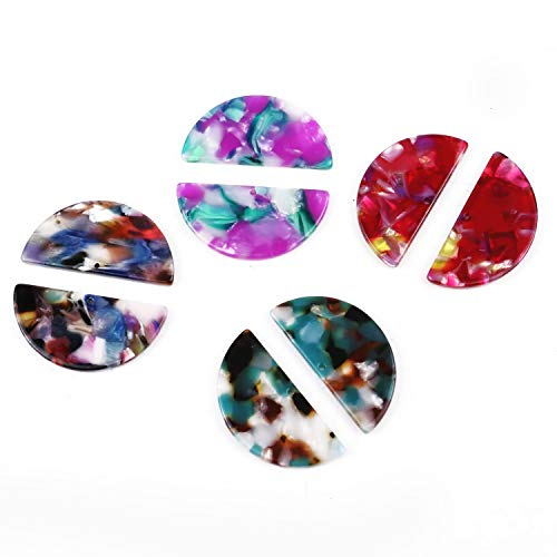 Pomeat 20Pcs Multicolor Half Circle Acetate Acrylic Bead Pendant Acetic Acid Charm Pendant Acetate Connector Acrylic Supplies Necklace Earring -