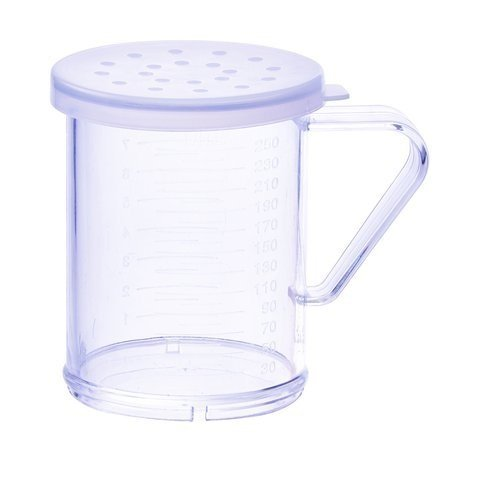 Winco PDG-10CL, 10 Oz Plastic Dredge with Clear Snap-on Lid, Seasoning Sugar Spice Pepper Shaker with Large Holes