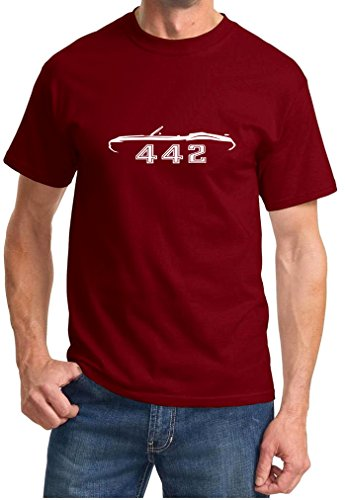 1970-72 Oldsmobile 442 Cutlass Convertible Classic Outline Design Tshirt large maroon