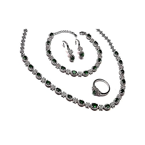 Ensemble de bijoux Loi 925m argent rhodium lisse vert pierres zircone [AB0865]