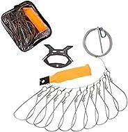 MEW Fishing Stringer Kit, Stainless Steel Fish Stringer and 10 Portable Tangle-Free Swivels Live Fish Large Bu