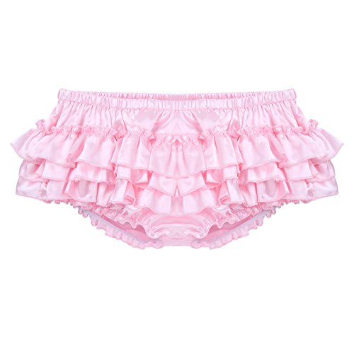(ACSUSS Men's Satin Frilly Thong Sissy Crossdress Bloomer Ruffled Skirted Panties Type A Pink Large(Waist 31.5-53.5