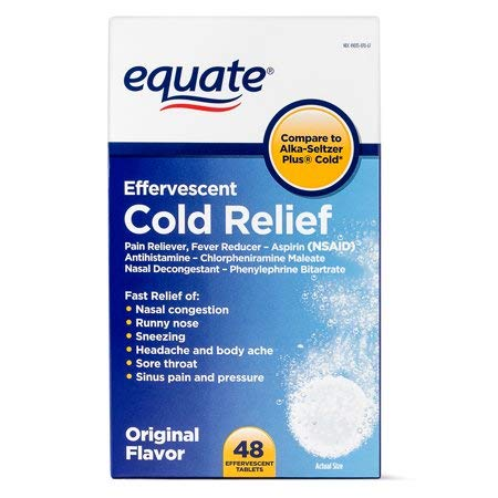 (Equate Cold Relief Original Flavor Effervescent Tablets, 48ct )