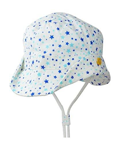 Organic Cotton Kids Boys Girls Blue White Stars Sun Protection Brim Hat Straps, 2-4T
