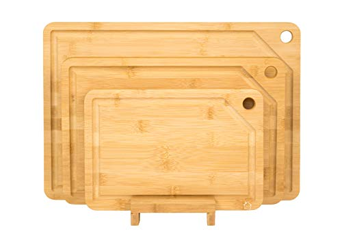 (Homebüsi All Natural Bamboo Cutting Board, with Juice Grooves Best for Chopping and Serving (Free Stand Included) - Set of 3 )