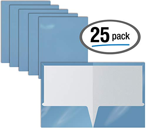 2 Pocket Glossy Laminated Light Blue Paper Folders, Letter Size, Lt. Blue Paper Portfolios by Better Office Products, Box of 25 Light Blue Folders