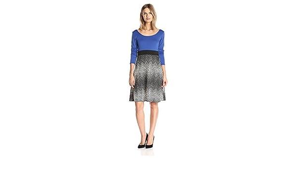Star Vixen Womens Solid Top-Print Skirt Short Sleeve Skater Maxi Dress