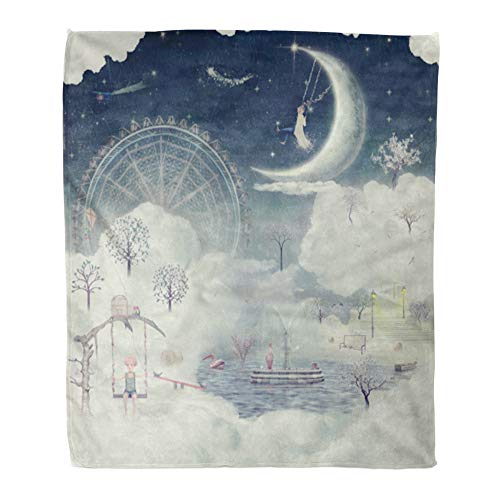 t Warm Cozy Print Flannel Child The Shows Fantastic Country in Sky Dream Fantasy Comfortable Soft for Bed Sofa and Couch 60x80 Inches ()