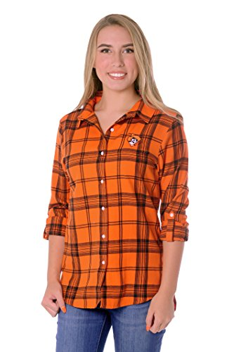 UG Apparel NCAA Oklahoma State Cowboys Women's Boyfriend Plaid Roll Up Sleeve Shirt, Orange/Black, Small