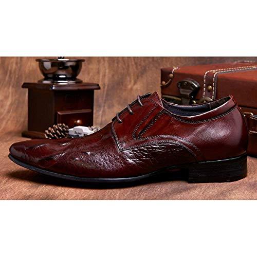 ASJUNQ High-End-Krokodil Gedruckt Schuhe Britische Geschäftsleute Spitzen Lace-Up Breathable Trendy Winered