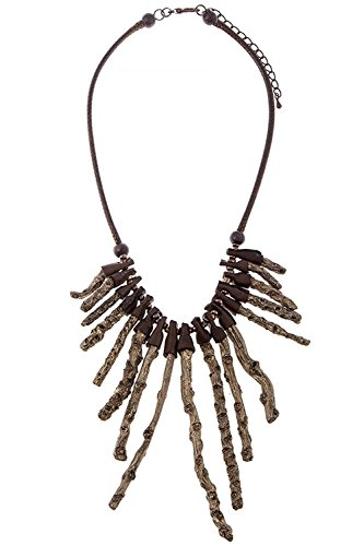 TRENDY FASHION JEWELRY TWIG FRINGE CORD NECKLACE BY FASHION DESTINATION   (Brown) (Custom Costume Hip Hop Jewelry)