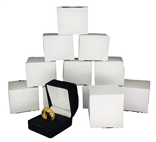 888 Display® Black Flocked Ring Gift Boxes, Jewelry Display, Jewelry Box