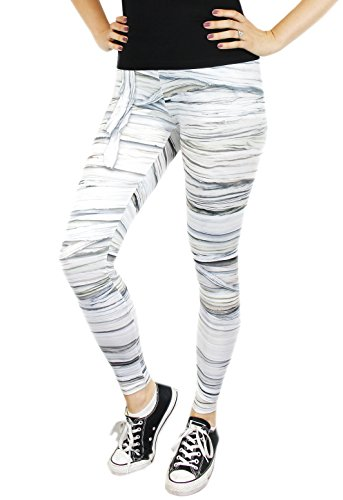 Women's Spooky Halloween Mummy Monster Costume Leggings - Size (Mummy Costumes Women)