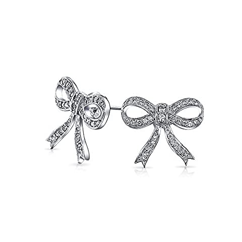 Bling Jewelry Sterling Silver Cubic Zirconia Bow