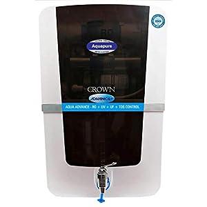 Aqua Pure ABC Food Grade Plastic Advance Plus Crown RO+UV+UF+Alkaline Mineral Cartridge +TDS Water Purifier (White and Black, 12 L)