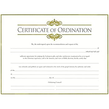 Amazon.com : Certif-Ordination-Minister w/Gold Emboss (Package of 6 ...