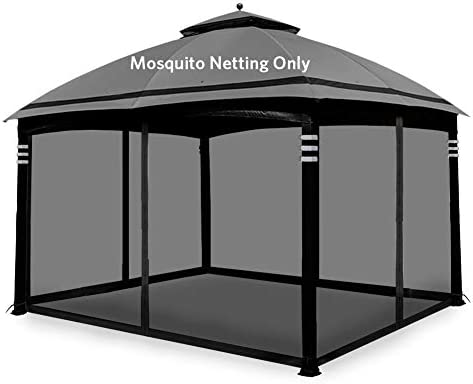 Hofzelt Gazebo Replacement Mosquito Netting Screen Walls for 10 x 12 Gazebo Canopy Mosquito Net Only Black