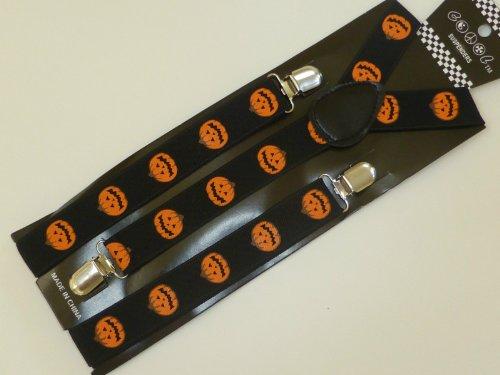 Orange Black Halloween Pumpkin Suspenders Braces Unisex -