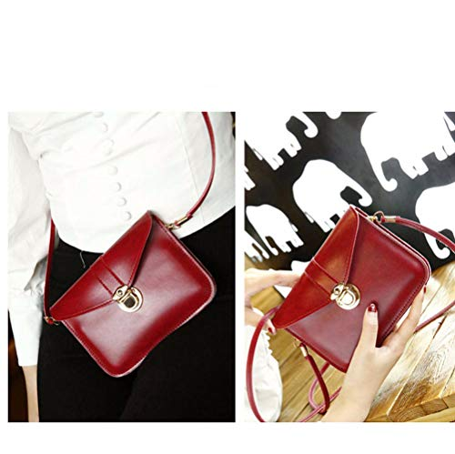 edfamily Women Girls Mini Handbags Leather Crossbody Single Shoulder Bag Cellphone Pouch Purse Wallet (Red) by edfamily (Image #1)