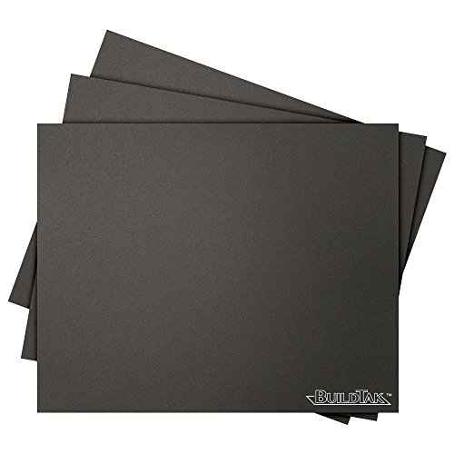 BuildTak 3D Printing Build Surface, 8'' x 10'' Rectangle, Black (Pack of 3) by BuildTak