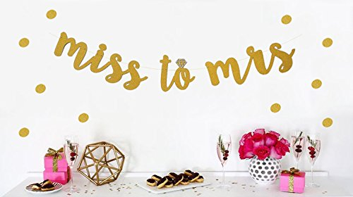 Miss to Mrs Banner Bachelorette Party Bridal Shower Decoration Supplies - Free 200 pcs Gold Dots by ROUNDSQUARE