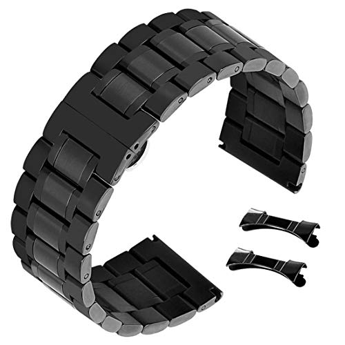 Mens 22mm Stainless Steel Watch Band Bracelet Replacement Fashion Black