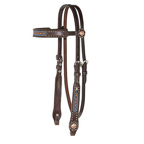(Circle Y Beaded Inlay Copper 5/8in Headstall)