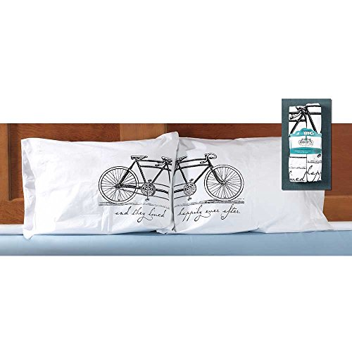 ly Ever After Tandem Bicycle White 32 x 22 Cotton Pillowcase, Set of 2 ()