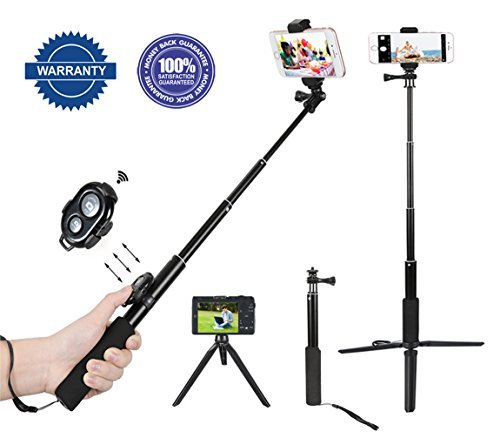Selfie Stick,Bluetooth Wireless Selfie Stick Phone Selfie Stick with Monopod Extendable iPhone Tripod for iPhone X,7 Plus,6 Plus,Samsung,other Android Phones,Digital Cameras and GoPro
