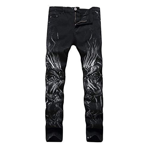 2018 Diseño De Moda De Único Hombres Skinny Los Hombres Patrones Vaqueros Negros Hombres Los Hombres Pantalones Vaqueros Atractivos con La Norma En Imprime La Pierna Derecho Adelgaza Los Stil4