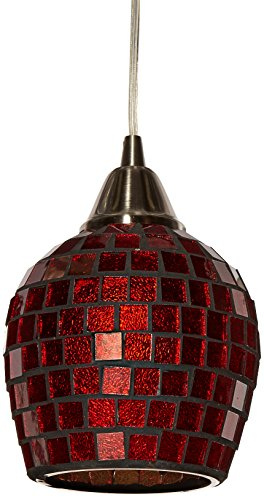 Fusion Mosaic (Elk 528-1CPR-LED Fusion 1-LED Light Pendant with Copper Mosaic Glass Shade, 5 by 7-Inch, Satin Nickel Finish)